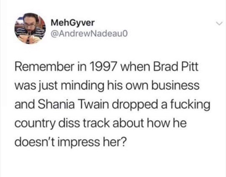 Text - MehGyver @AndrewNadeau Remember in 1997 when Brad Pitt was just minding his own business and Shania Twain dropped a fucking country diss track about how he doesn't impress her?