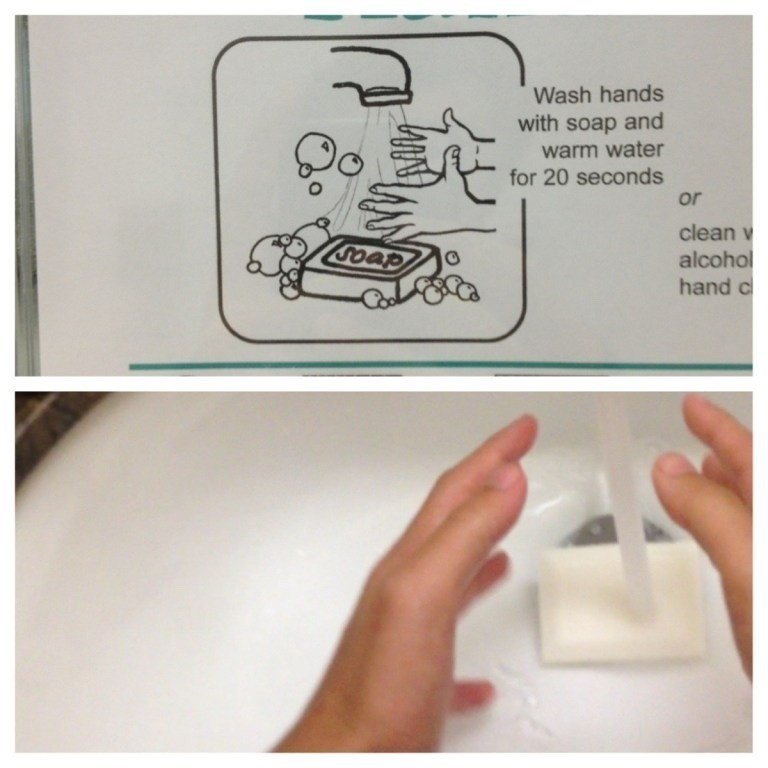 Text - Wash hands with soap and warm water for 20 seconds or clean v Goap alcohol hand c