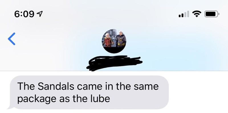 Text - Product - 6:09 The Sandals came in the same package as the lube