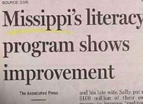 news headline - Font - Missippi's literacy program shows improvement and his late wife Sally,pat $100 million of their one prelite The Associated Press