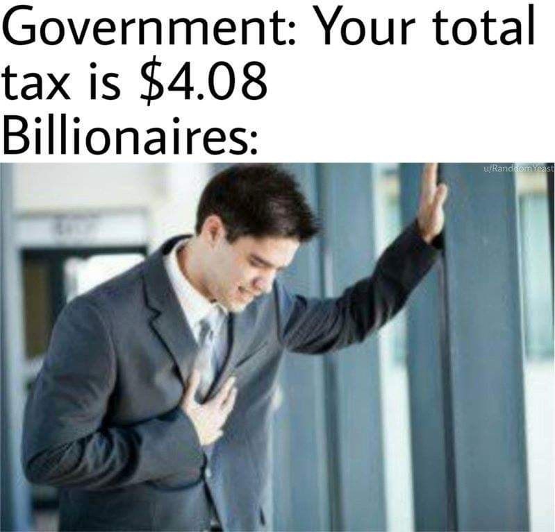 sily shitpost - Text - Government: Your total tax is $4.08 Billionaires: u/RanddomYeast