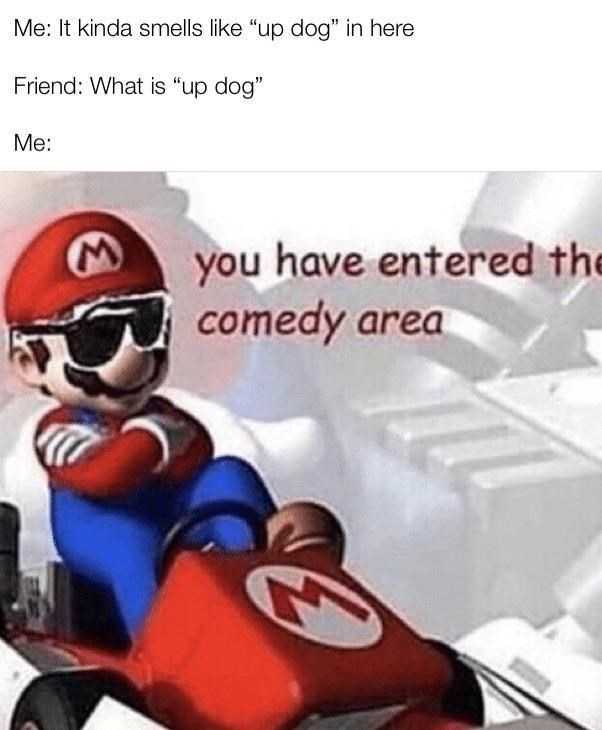 """Fictional character - Me: It kinda smells like """"up dog"""" in here Friend: What is """"up dog"""" Me: you have entered the comedy area"""