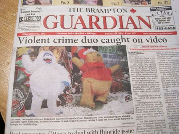 funny news - Newspaper - Pg.5 Pg.7 Pg.27 THE BRAMPTON ACCEPTING eNTERAC BrapBramale ATAX GUARDIAN 1451-8000 453-6666 elephone 905-454-4344P PJanry 13 2012 MCe es4c Violent crime duo caught www.e on video