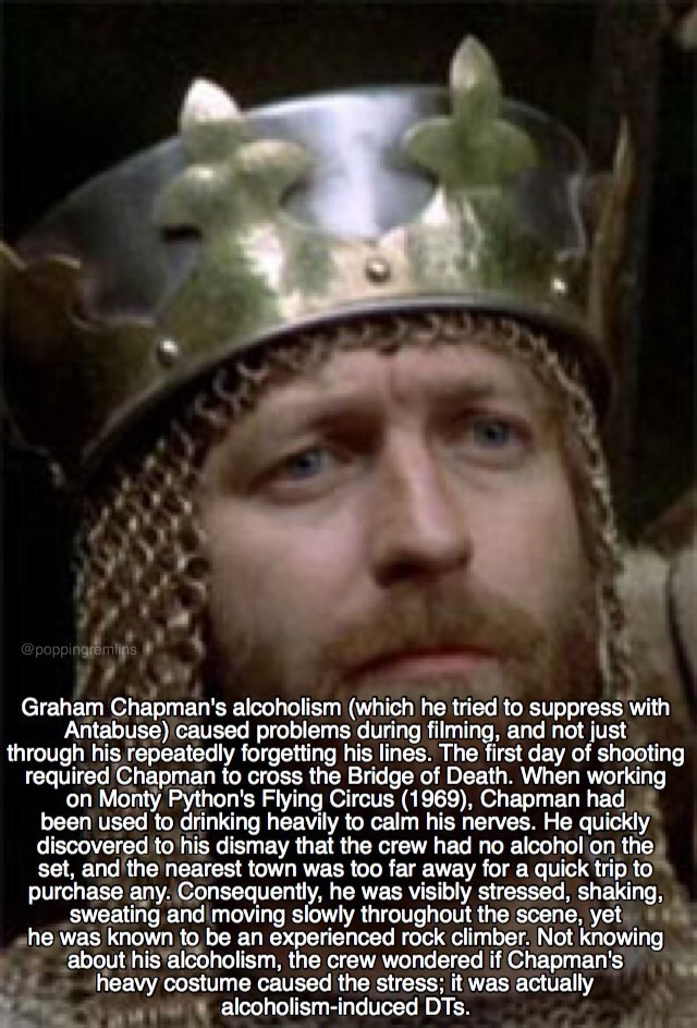 monty python - Helmet - @poppingremlins Graham Chapman's alcoholism (which he tried to suppress with Antabuse) caused problems during filming, and not just through his repeatedly forgetting his lines. The first day of shooting required Chapman to cross the Bridge of Death. When working on Monty Python's Flying Circus (1969)