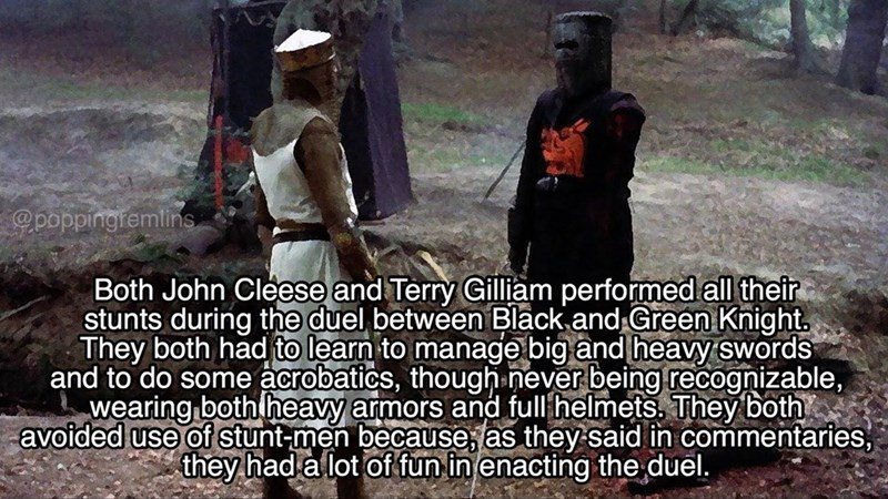 monty python - Adaptation - poppingremlins Both John Cleese and Terry Gilliam performed all their stunts during the duel between Black and Green Knight. They both had to learn to manage big and heavy swords and to do some acrobatics, though never being recognizable, wearing both heavy armors and fullhelmets. They both avoided use of stunt-men becauseas they said in commentaries they had a lot of fun in enacting the duel.