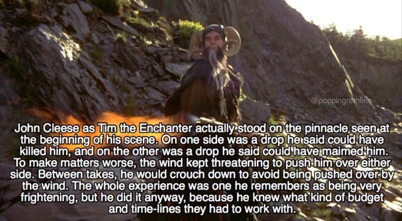 monty python - Text - @poppingremlins John Cleese as Tim the Enchanter actually stood on the pinnacle seen at the beginning of his scene. On one side was a drop heisaid could have killed him, and on the other was a drop he said could have maimed him To make matters worse, the wind kept threatening to push him over either side
