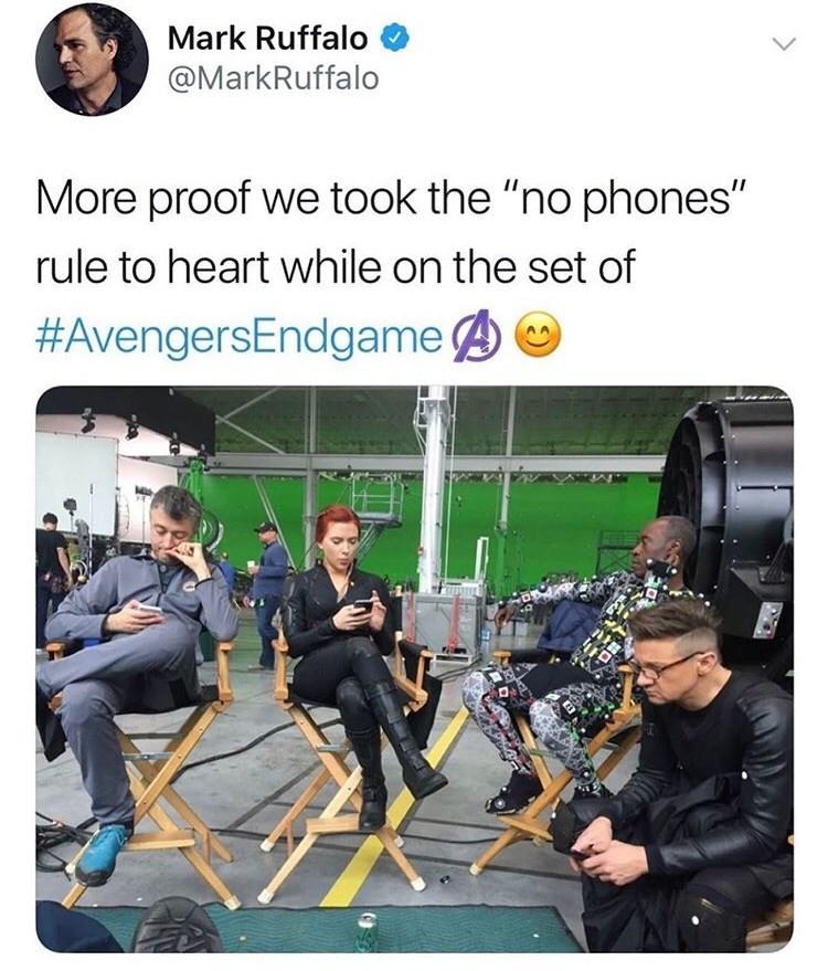 "Mark Ruffalo @MarkRuffalo More proof we took the ""no phones"" rule to heart while on the set of #AvengersEndgame"