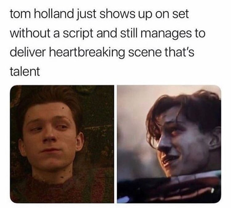 Face - tom holland just shows up on set without a script and still manages to deliver heartbreaking scene that's talent