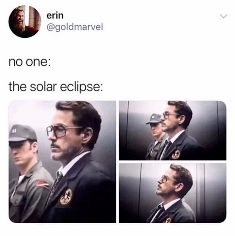 Text - erin @goldmarvel no one: the solar eclipse: