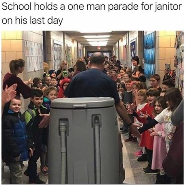 wholesome meme - People - School holds a one man parade for janitor on his last day