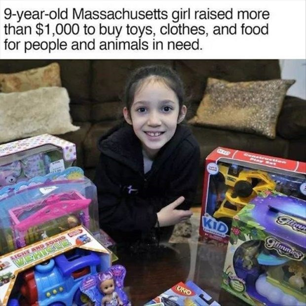 wholesome meme - Product - 9-year-old Massachusetts girl raised more than $1,000 to buy toys, clothes, and food for people and animals in need. Cenesrsetien P Y et KID glimmics UNO