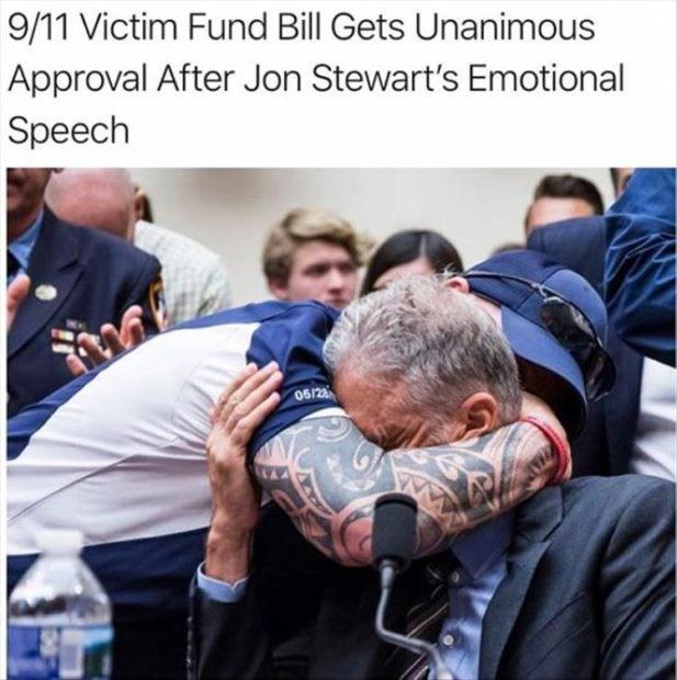 wholesome meme - Community - 9/11 Victim Fund Bill Gets Unanimous Approval After Jon Stewart's Emotional Speech 06/23