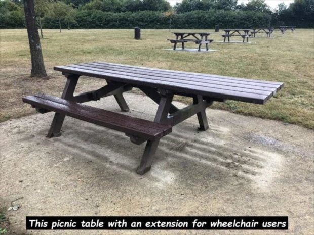 wholesome meme - Picnic table - This picnic table with an extension for wheelchair users