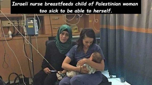 wholesome meme - Photo caption - Israeli nurse breastfeeds child of Palestinian woman too sick to be able to herself.