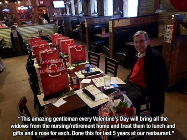 """wholesome meme - Job - ass """"This amazing gentleman every Valentine's Day will bring all the widows from the nursing/retirement home and treat them to lunch and gifts and a rose for each. Done this for last 5 years at our restaurant."""" TCB A"""