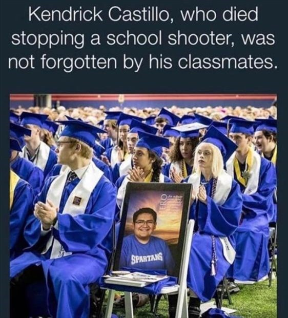 wholesome meme - Graduation - Kendrick Castillo, who died stopping a school shooter, was not forgotten by his classmates. SPARTANS HERO