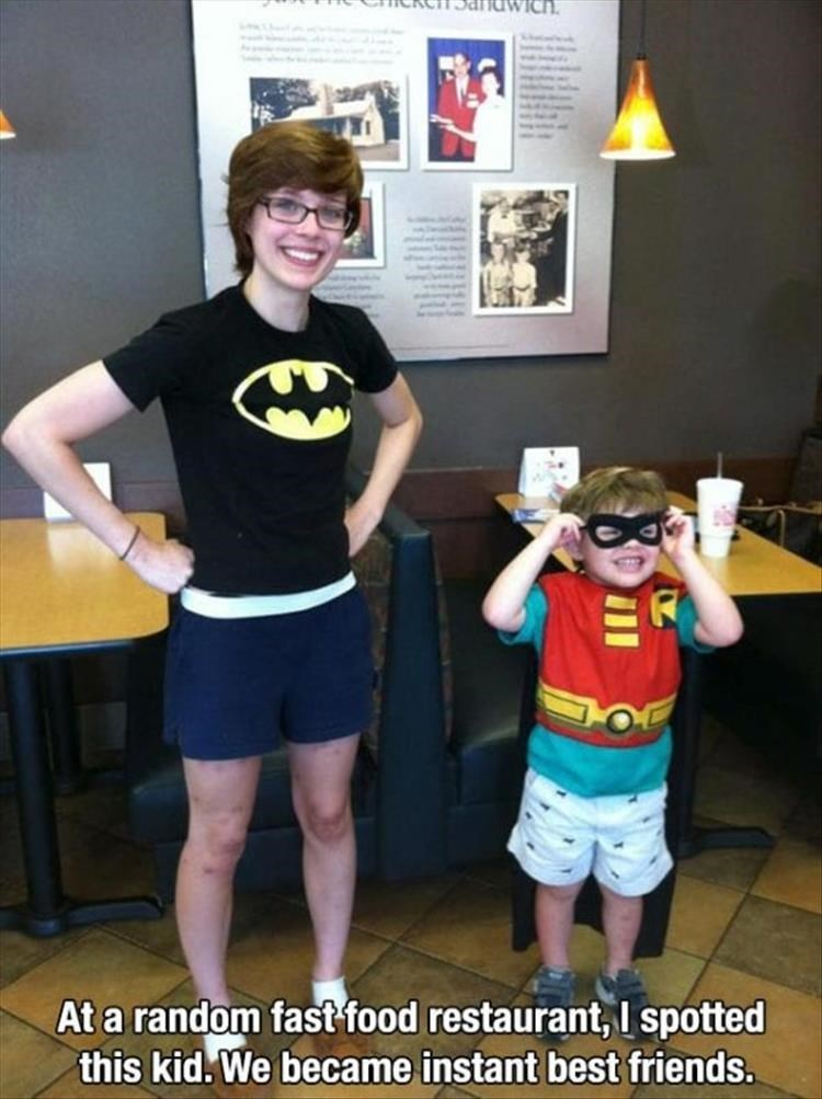 wholesome meme - Costume - At a random fast food restaurant, I spotted this kid.We became instant best friends.