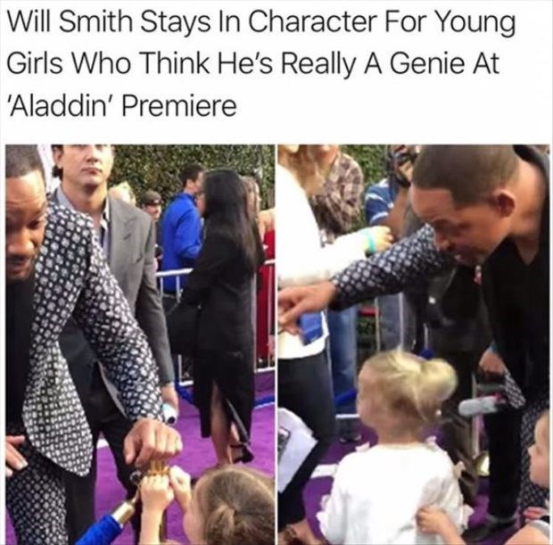 wholesome meme - People - Will Smith Stays In Character For Young Girls Who Think He's Really A Genie At 'Aladdin' Premiere