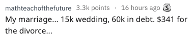 waste of money - Text - mathteachofthefuture 3.3k points 16 hours ago S My marriage... 15k wedding, 60k in debt. $341 for the divorce...