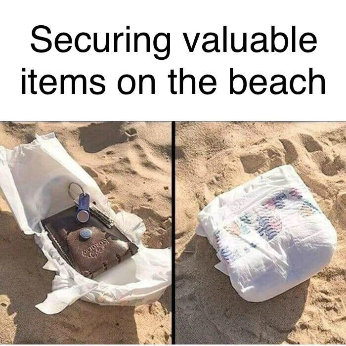 Meme - Product - Securing valuable items on the beach KORO