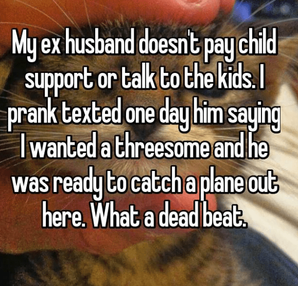 evil prank - Text - My ex husband doesnt pay child support or talk to the kids. prank texted one day him saying Iwanted a threesomeand he was ready to catch a plane out here. What a dead beab