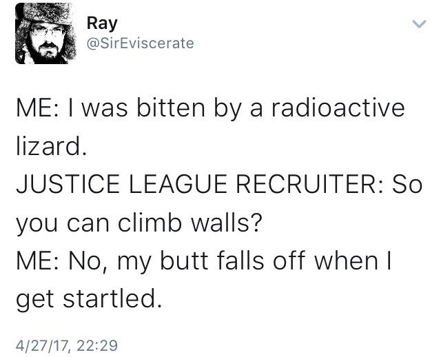 Funny tweet about a radioactive lizard and the Justice League