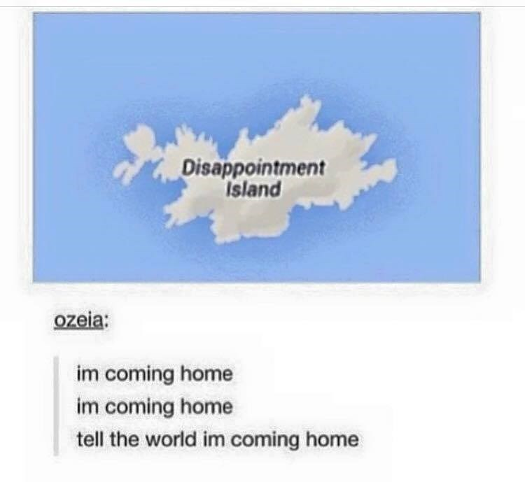 """Funny meme about """"Disappointment Island"""""""