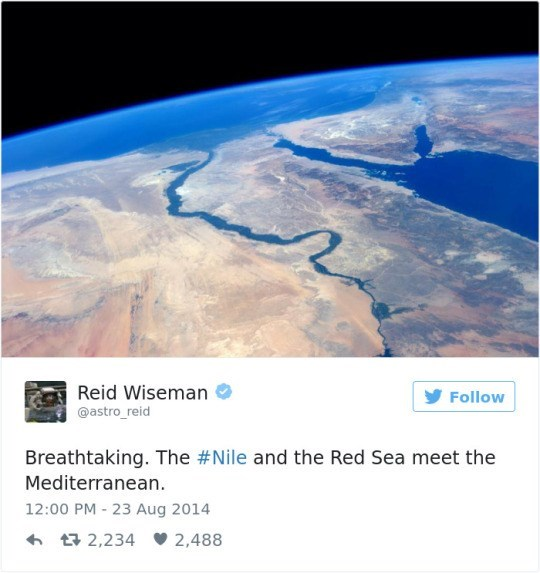 Atmosphere - Reid Wiseman Follow @astro_reid Breathtaking. The #Nile and the Red Sea meet the Mediterranean. 12:00 PM 23 Aug 2014 t2,234 2,488