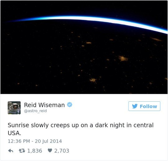 Atmosphere - Reid Wiseman @astro_reid Follow Sunrise slowly creeps up on a dark night in central USA. 12:36 PM 20 Jul 2014 1,836 2,703