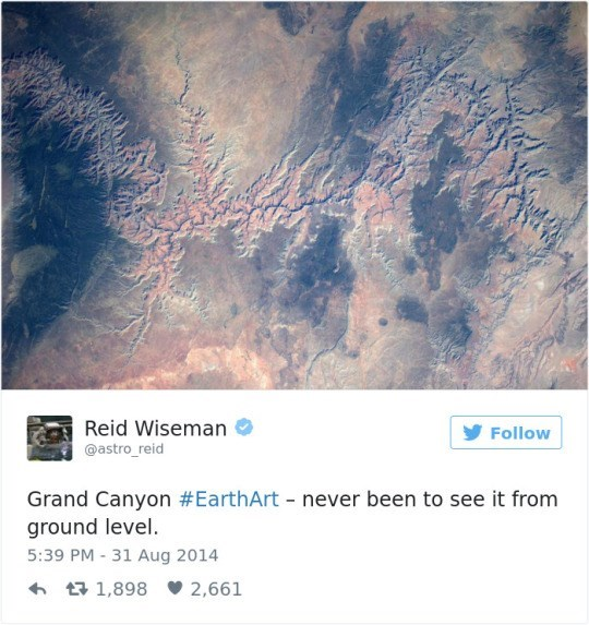 Text - Reid Wiseman Follow @astro_reid Grand Canyon #EarthArt - never been to see it from ground level. 5:39 PM - 31 Aug 2014 1,898 2,661