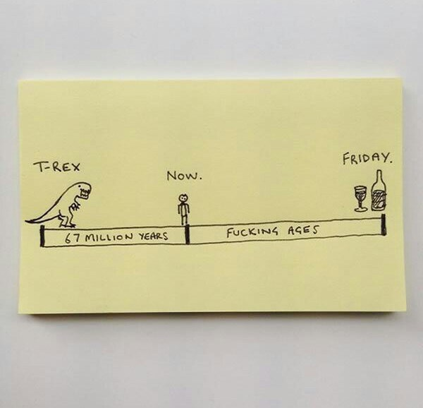 funny pic - Post-it note - FRIDAY TREX Now. FUCKING AGES 67 MILLION YEARS