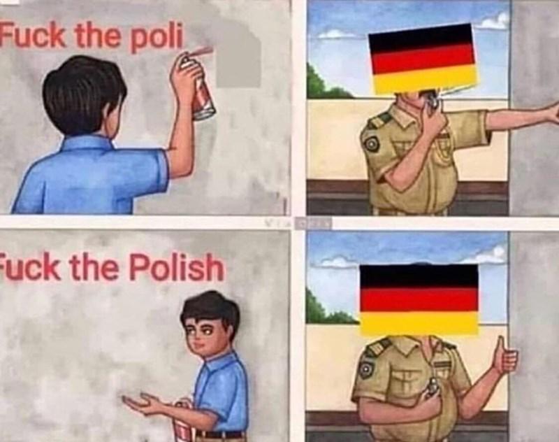 Cartoon - Fuck the poli Fuck the Polish