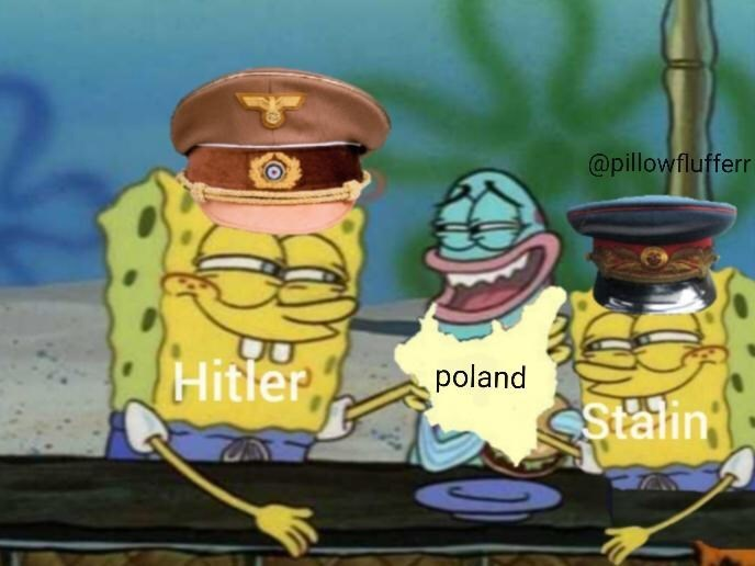 Cartoon - @pillowflufferr Hitler poland CStalin