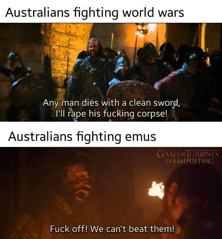 Adaptation - Australians fighting world wars Any man dies with a clean sword, ll rape his fucking corpse! Australians fighting emus GAME THRONES SHAMEPOSTING Fuck off! We can't beat them!