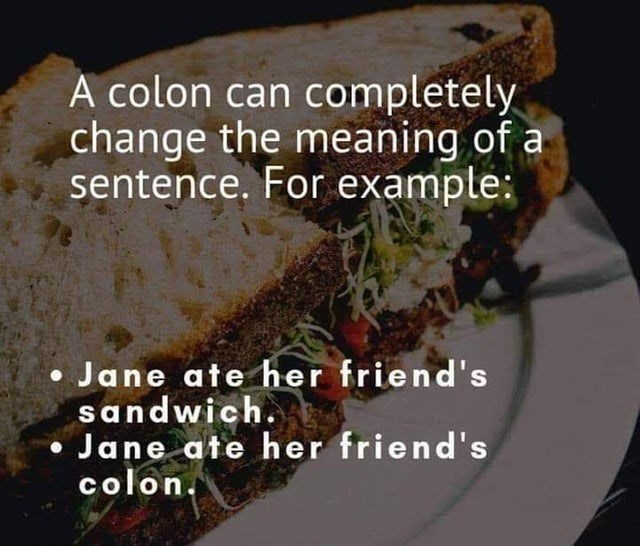 funny pic - Food - A colon can completely change the meaning of a sentence. For example: Jane ate her friend's sandwich. Jane ate her friend's colon.