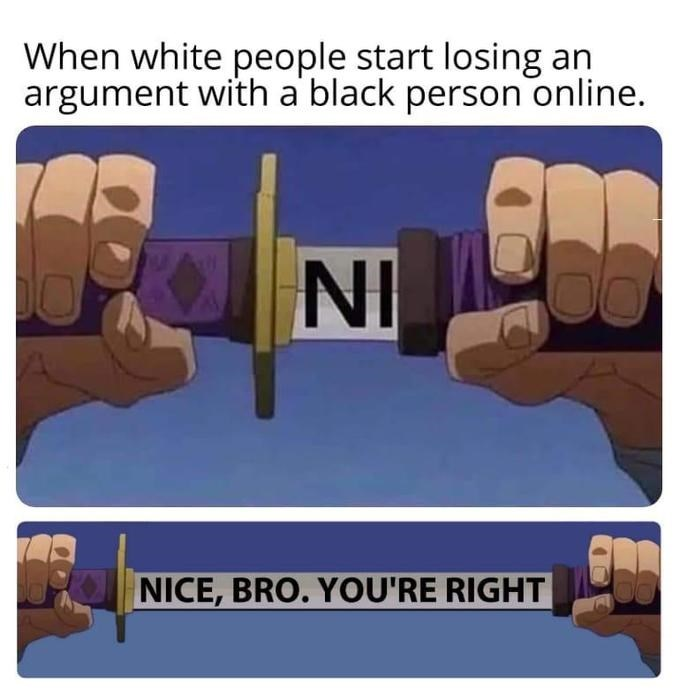 Meme - Hand - When white people start losing an argument with a black person online. NI NICE, BRO. YOU'RE RIGHT