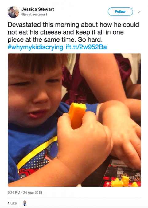 tweet - Child - Jessica Stewart Follow ejessicaestewart Devastated this morning about how he could not eat his cheese and keep it all in one piece at the same time. So hard. #whymykidiscrying ift.tt/2w952Ba 9:24 PM 24 Aug 2018 1 Like