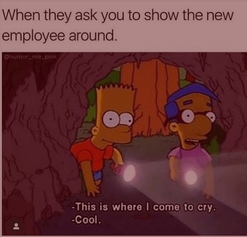 Meme - Cartoon - When they ask you to show the new employee around. Chumor me-pink -This is whereI come to cry. -Cool.