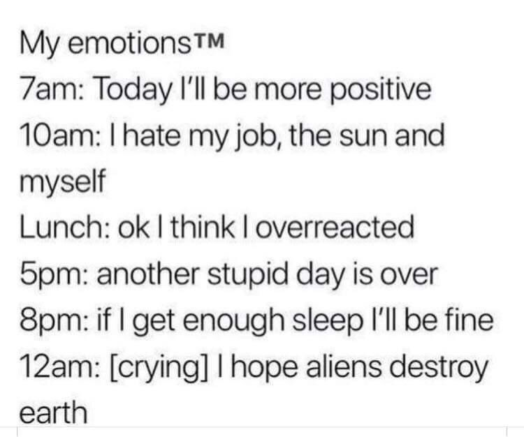 Meme - Text - My emotionsTM 7am: Today I'll be more positive 10am: Ihate my job, the sun and myself Lunch: ok I think I overreacted 5pm: another stupid day is over 8pm: if I get enough sleep 'll be fine 12am: [crying] I hope aliens destroy earth