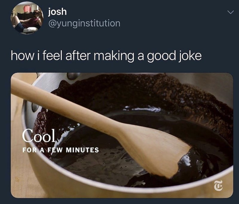 funny meme - Food - josh @yunginstitution how i feel after making a good joke Cool FOR A FEW MINUTES