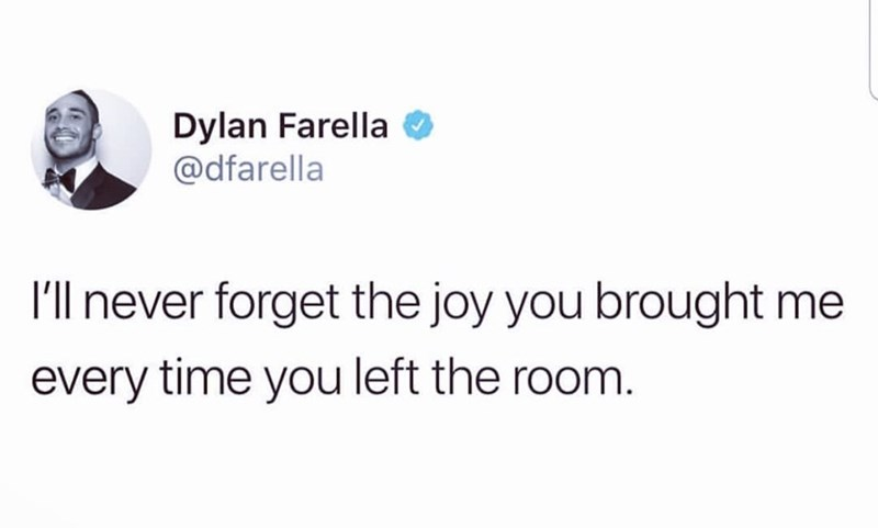 funny meme - Text - Dylan Farella @dfarella I'l never forget the joy you brought me every time you left the room.