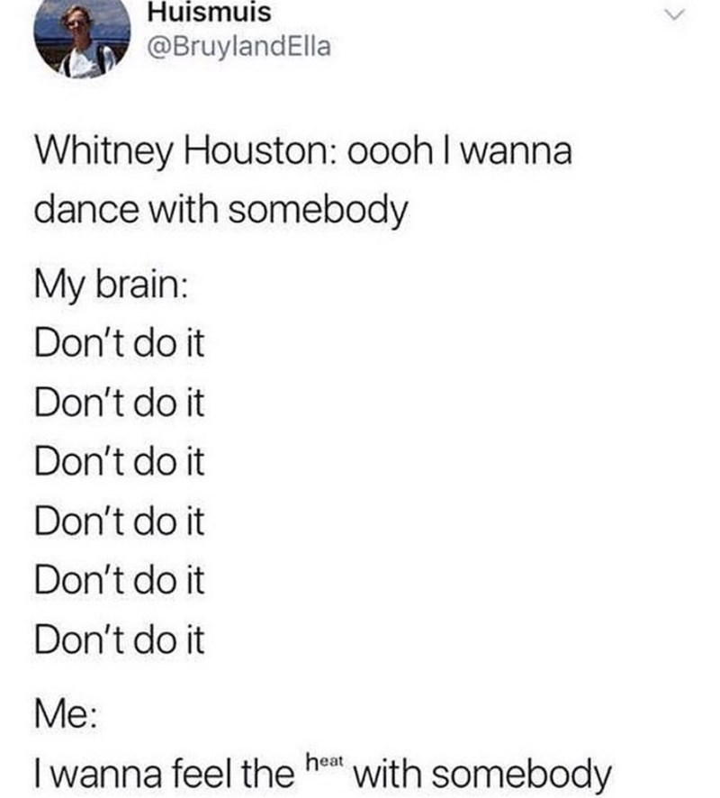 funny meme - Text - Huismuis @BruylandElla Whitney Houston: oooh I wanna dance with somebody My brain: Don't do it Don't do it Don't do it Don't do it Don't do it Don't do it Me: heat I wanna feel the with somebody