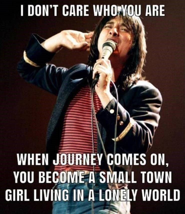 Meme - Music artist - I DON'T CARE WHO VOU ARE WHEN JOURNEY COMES ON, YOU BECOME A SMALL TOWN GIRL LIVING IN A LONELY WORLD