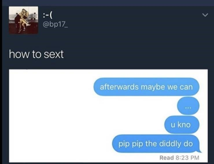 Meme - Text - :-( @bp17 how to sext afterwards maybe we can u kno pip pip the diddly do Read 8:23 PM