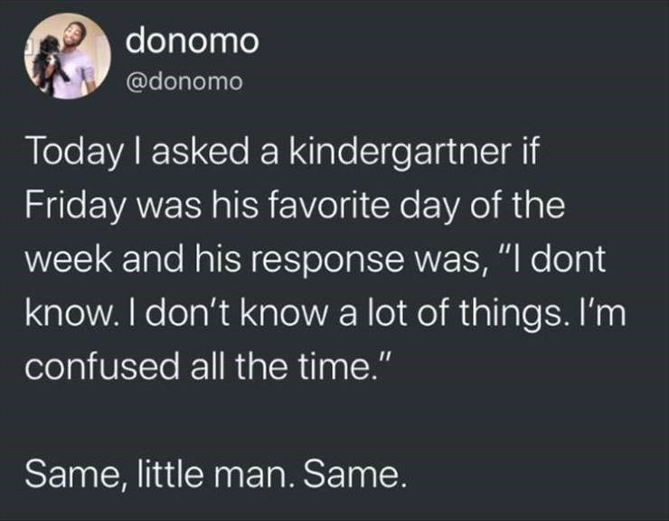 "Meme - Text - donomo @donomo Today I asked a kindergartner if Friday was his favorite day of the week and his response was, ""I dont know. I don't know a lot of things. I'm confused all the time."" Same, little man. Same."
