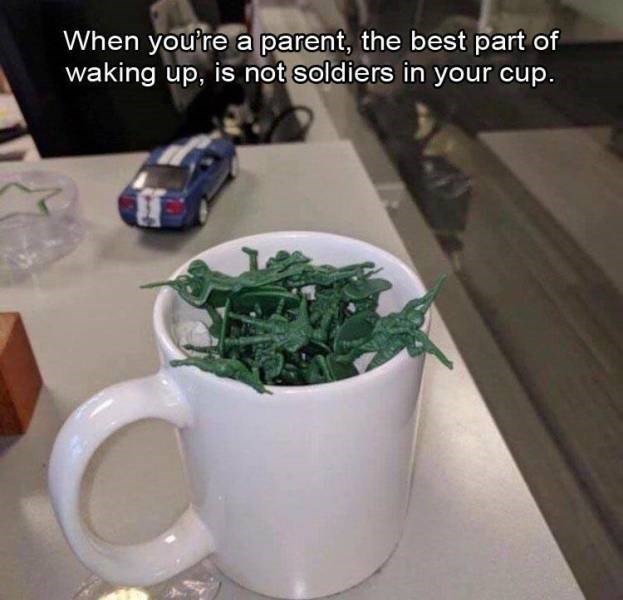 Meme - Cup - When you're a parent, the best part of waking up, is not soldiers in your cup.