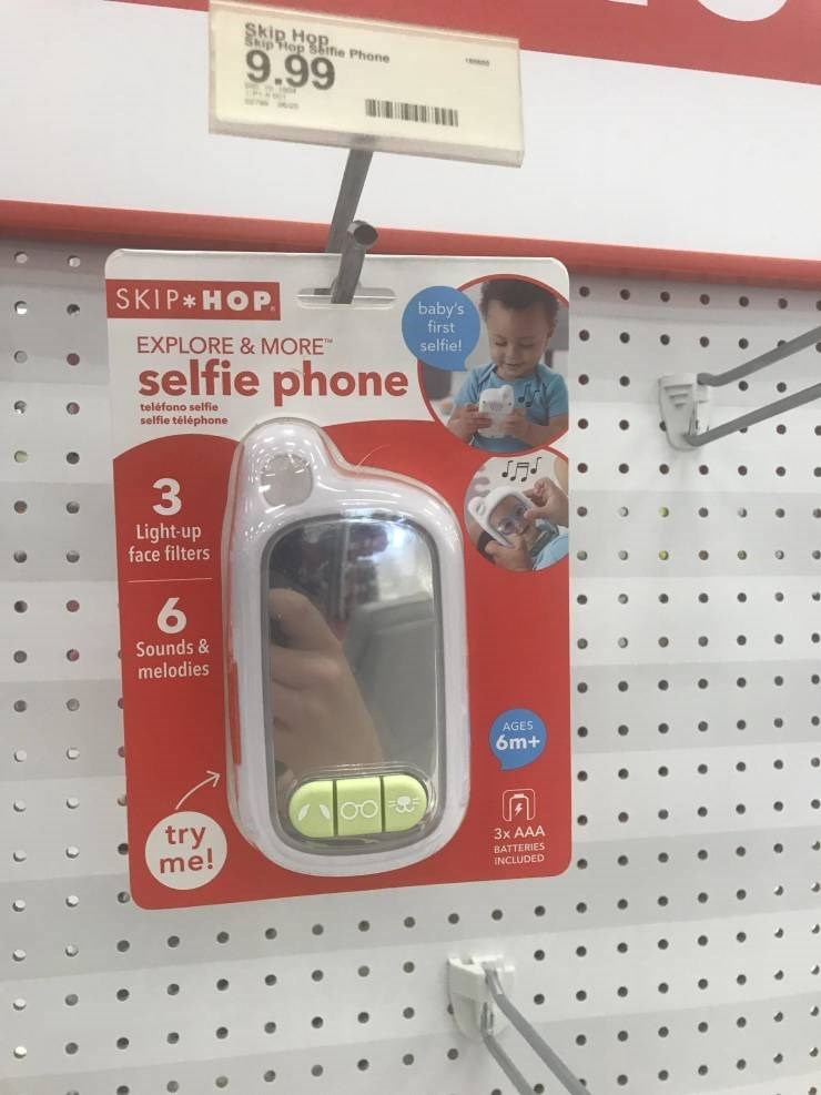 Meme - Emergency light - Skip H ipHop ine Phone 9.99 SKIP HOP baby's first selfie! EXPLORE & MORE selfie phone teléfono selfie selfie téléphone 33 Light-up face filters Sounds& melodies AGES 6m+ try me! 3x AAA INCLUDED