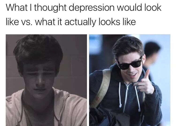 depression meme - Facial expression - What I thought depression would look like vs. what it actually looks like