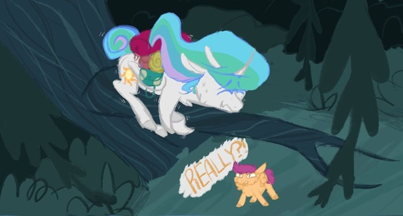 vixenwolf123 between dark and dawn princess celestia Scootaloo - 9323205376