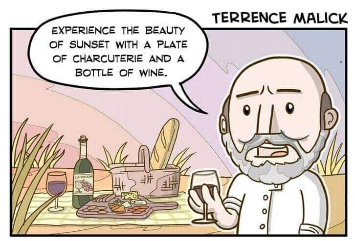 Cartoon - TERRENCE NMALICK EXPERIENCE THE BEAUTY OF SUNSET WITH A PLATE OF CHARCUTERIE AND A BOTTLE OF WINE LA DOUG